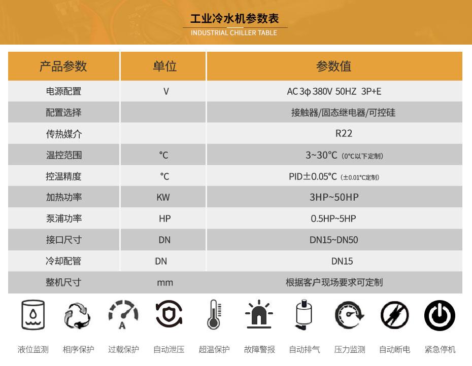 工业冷水机参数表